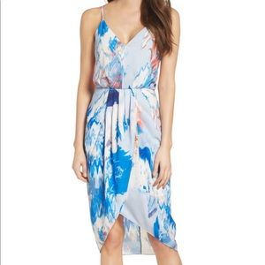 🎉 Chelsea28 Watercolor Faux Wrap Dress